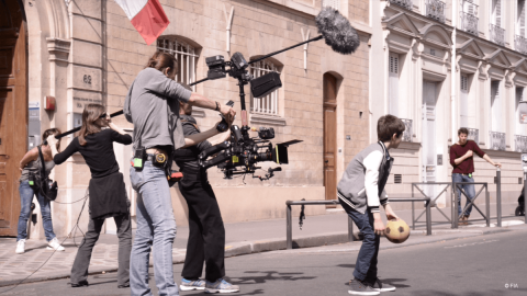 The film crew shooting in the streets of Paris - Save Kids Lives - A film directed by Luc Besson - #SAVEKIDSLIVES - FIA foundation