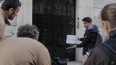 The film crew in the streets of Paris - Save Kids Lives - A film directed by Luc Besson - #SAVEKIDSLIVES - FIA foundation